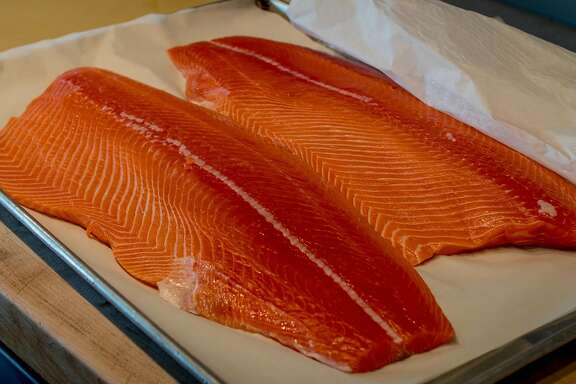 King Salmon fillets at Bouli Bar in San Francisco, Calif. are seen on August 23rd, 2017.