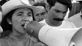"United Farm Workers leader Dolores Huerta organizing marchers on the 2nd day of March Coachella in Coachella, CA 1969. ""Dolores,"" Peter Bratt's documentary about Huerta, executive produced by Carlos Santana, opens at Bay Area theaters on Friday, Sept. 8. � 1976 George Ballis _ Take Stock _ The Image Works"