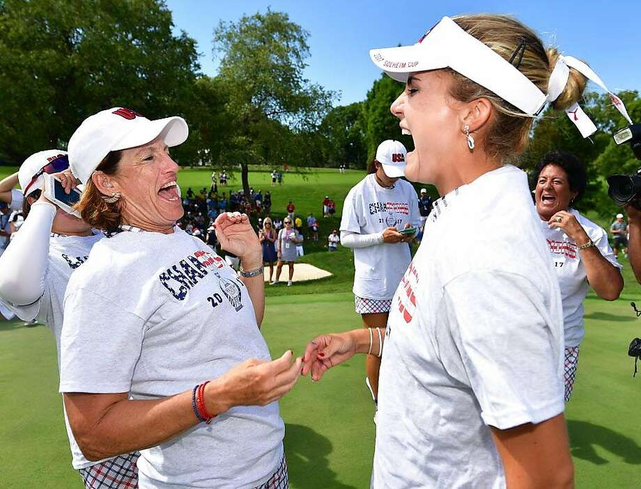 WEST DES MOINES, IA - AUGUST 20:  Juli Inkster, Captain of Team USA  celebrates with Lexi Thompson after the final day singles matches of The Solheim Cup at Des Moines Golf and Country Club on August 20, 2017 in West Des Moines, Iowa.  (Photo by Stuart Franklin/Getty Images) Photo: Stuart Franklin, Getty Images