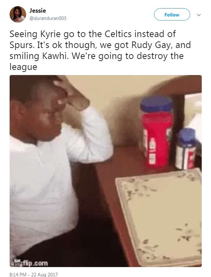 @duranduran003: Seeing Kyrie go to the Celtics instead of Spurs. It's ok though, we got Rudy Gay, and smiling Kawhi. We're going to destroy the league. Photo: Twitter.com