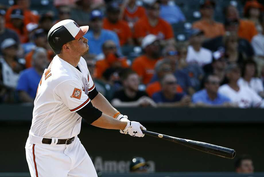 Baltimore Orioles' Trey Mancini watches his three-run home run in the fourth inning of a baseball game against the Oakland Athletics in Baltimore, Wednesday, Aug. 23, 2017. Photo: Patrick Semansky, Associated Press