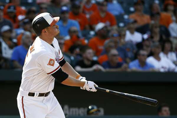 Baltimore Orioles' Trey Mancini watches his three-run home run in the fourth inning of a baseball game against the Oakland Athletics in Baltimore, Wednesday, Aug. 23, 2017. (AP Photo/Patrick Semansky)