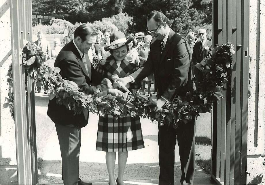 Opening day in 1972 of the Helen Crocker Russell Library of Horticulture shows Richard Dillon (left), Jane Coney and Quentin Kopp cutting the ribbon. Photo: Courtesy Of The Helen Crocker Russell Library