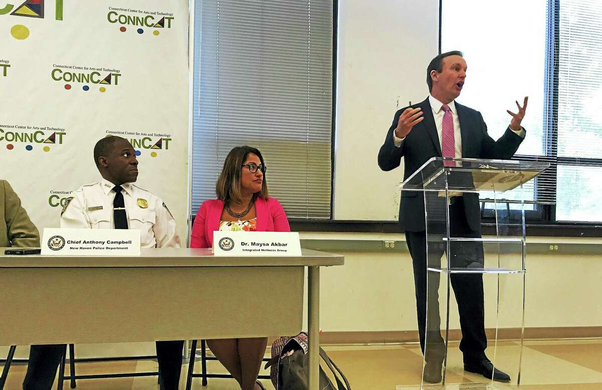 From left: Police Chief Anthony Campbell, Yale Child Study Center professor Maysa Akbar and U.S. Sen. Chris Murphy, D-Conn., during a forum on childhood trauma on Wednesday, August 23, at ConnCat in New Haven. Esteban L. Hernandez / Hearst Connecticut Media