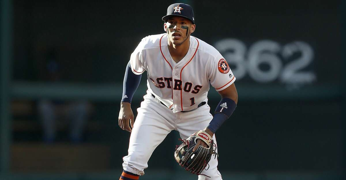 Houston Astros shortstop Carlos Correa (1) during the first inning of an MLB baseball game at Minute Maid Park, Saturday, April 8, 2017, in Houston. ( Karen Warren / Houston Chronicle )