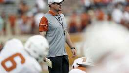 Coach Tom Herman of the Texas Longhorns watches the team stretch before the spring game at Royal- Memorial Stadium on April 15, 2017 in Austin.