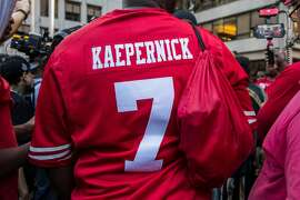 A rally in support of Colin Kaepernick, the former NFL quarterback, outside the league�s headquarters on Park Avenue in Manhattan, Aug. 23, 2017. Kaepernick�s protests of police brutality and racial oppression have made him one of the most talked-about players of the upcoming football season, even without a team. (Hiroko Masuike/The New York Times)
