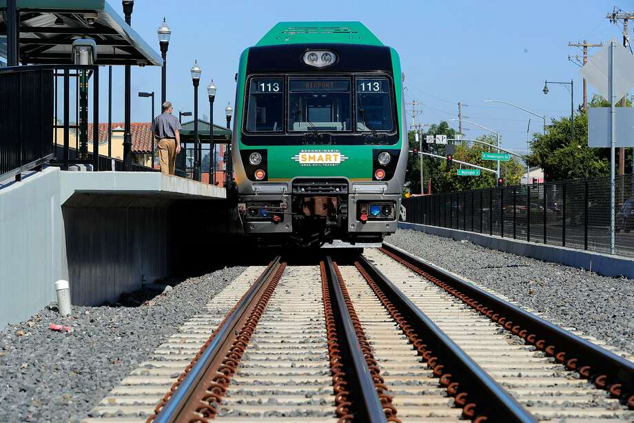The SMART train as it prepares to leave the Petaluma train station en-route to the San Rafael station on a demonstration run on Wednesday June 28, 2017 in Petaluma, Ca. Photo: Michael Macor, The Chronicle