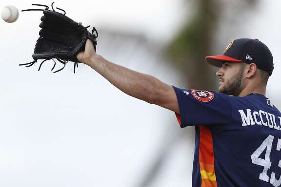 Houston Astros starting pitcher Lance McCullers (43) pitches live batting practice during spring training at The Ballpark of the Palm Beaches, in West Palm Beach, Florida, Friday, February 24, 2017. ( Karen Warren / Houston Chronicle )