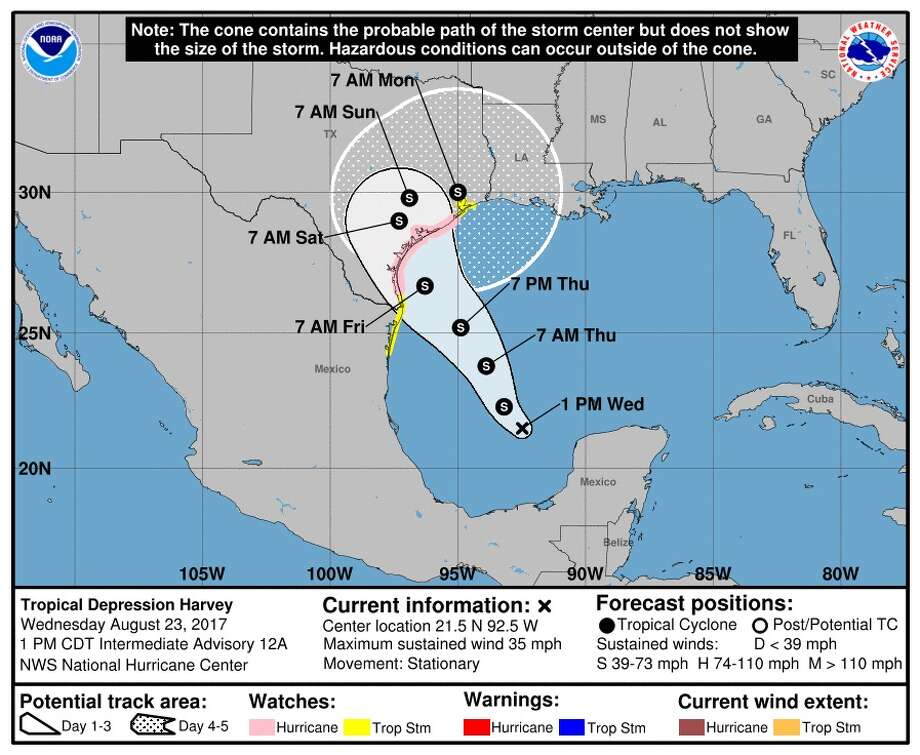 Montgomery County officials are gearing up for a tropical system that is predicted to slam the Texas coast this weekend. Photo: National Weather Service