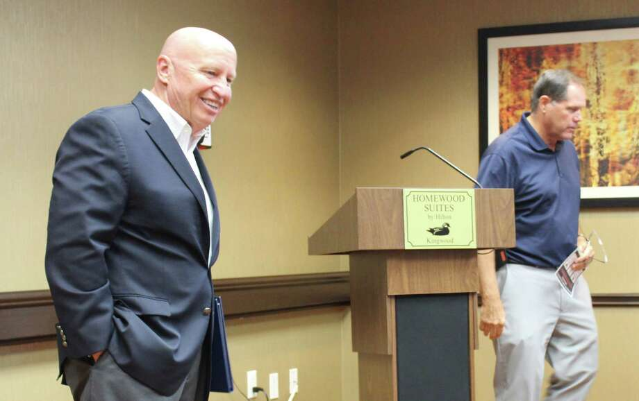 United States Congressman Kevin Brady, District 8, discusses tax reform at Homewood Suites in Kingwood Aug. 20 after an introduction by Rick Hatcher, president of the Greater East Montgomery County Chamber of Commerce. Photo: Courtesy Of Erick Ardon, Greater East Montgomery County Chamber Of CommerceDirector Of Communications