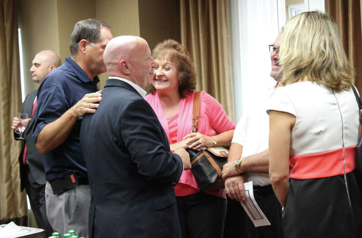United States Congressman Kevin Brady, District 8, greets community members before speaking about tax reform at Homewood Suites in Kingwood Aug. 20.