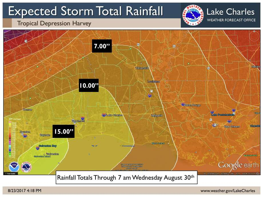 Southeast Texas could see 10 to 15 inches of rain from Tropical Depression Harvey this weekend. Map: National Weather Service