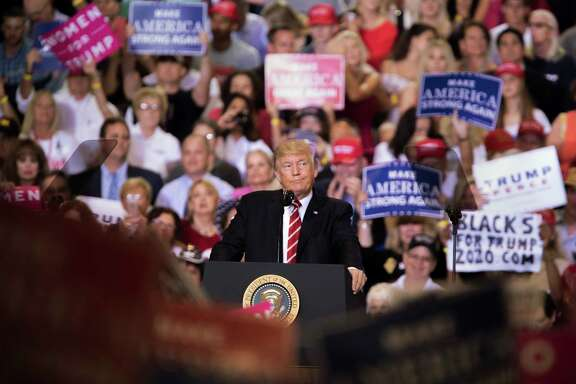 President Donald Trump holds a rally Tuesday night in Phoenix.  (Tom Brenner/The New York Times)