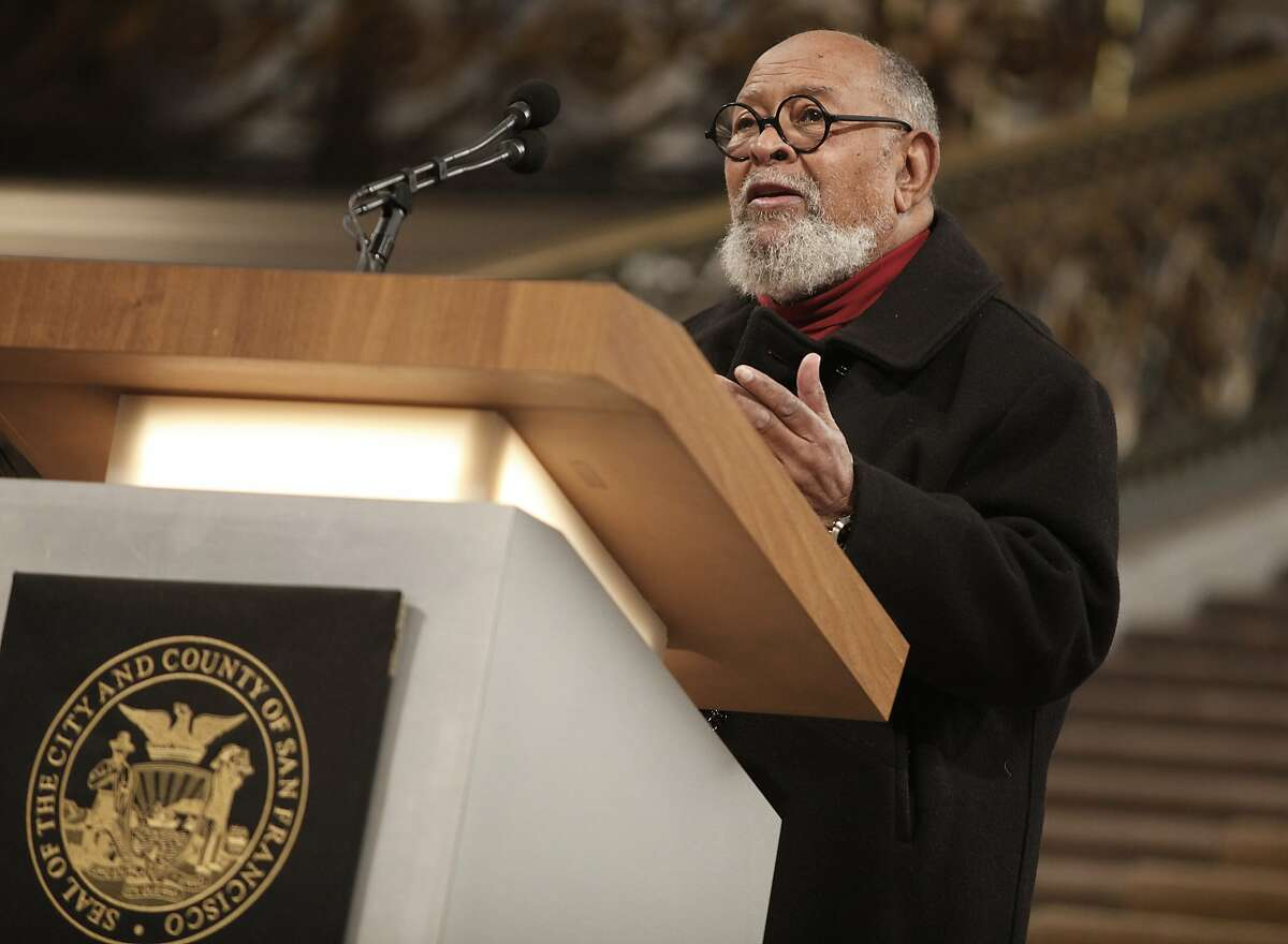 Reverend Cecil Williams speaks at a memorial for Nelson Mandela held at the City Hall rotunda in San Francisco, Calif., on Wednesday, December 11, 2013.