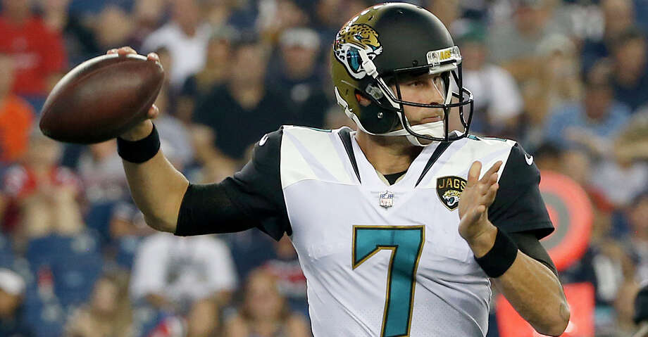 Jacksonville Jaguars quarterback Chad Henne (7) looks to pass during an NFL preseason football game against the New England Patriots, Thursday, Aug. 10, 2017, in Foxborough, Mass. (AP Photo/Mary Schwalm) Photo: Mary Schwalm/Associated Press