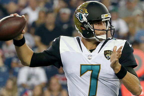Jacksonville Jaguars quarterback Chad Henne (7) looks to pass during an NFL preseason football game against the New England Patriots, Thursday, Aug. 10, 2017, in Foxborough, Mass. (AP Photo/Mary Schwalm)