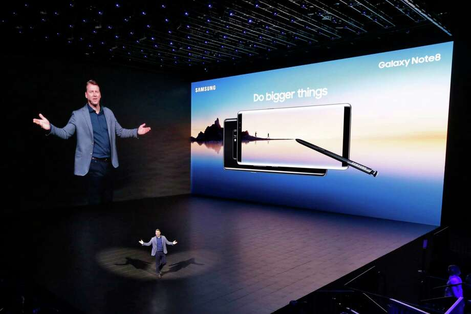 Justin Denison, vice president of strategy for Samsung Telecommunications America, talks about the company's Galaxy Note 8, during the phone's introduction, in New York, Wednesday, Aug. 23, 2017. Samsung is trying to move past last year's disastrous Galaxy Note 7 launch with a successor sporting a dual-lens camera, animated messages, expanded note-taking and lower battery capacity. (AP Photo/Richard Drew) Photo: Richard Drew, STF / AP