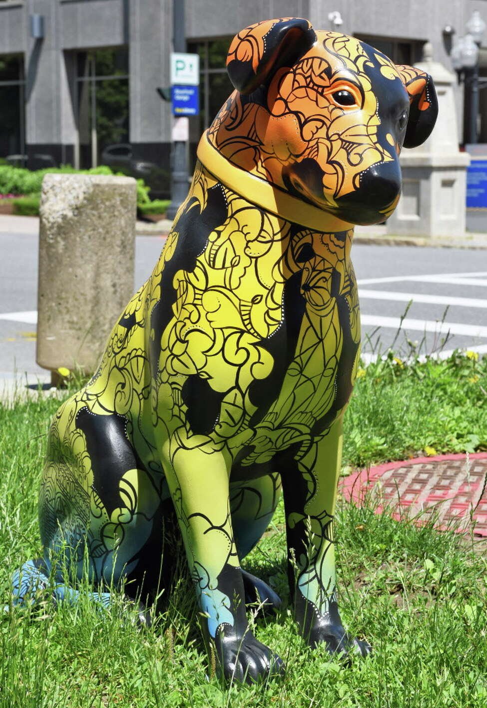 One of 20 3-foot-tall statues of Nipper as part of ODowntown is Pawsome,O outside the Albany Center Gallery Friday June 9, 2017 in Albany, NY. (John Carl D'Annibale / Times Union)