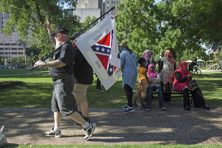 """Law professor Jeffrey Addicott had said he'd """"beat the living daylights"""" out of any racists in Travis Park. Photo: Ray Whitehouse, Photographer / For The San Antonio Express-News"""