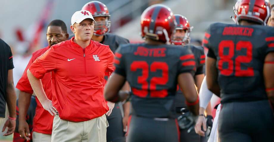 PHOTOS: Rating UH football's scheduleHOUSTON, TX - SEPTEMBER 29: Offensive coordinator and quarterbacks coach Major Applewhite looks on during warm-ups on September 29, 2016 in Houston, Texas.  (Photo by Bob Levey/Getty Images)Browse through the photos to see a ranking of the Cougars' upcoming schedule. Photo: Bob Levey/Getty Images