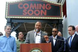Developer Craig Livingston of Exact Capital Group speaks in front of the Majestic Theater in Bridgeport, Conn. June 19, 2017. The City of Bridgeport announced that Exact Capital Group has been selected as the developer for a massive redevelopment project centered around the old Poli Theaters on Main Street.
