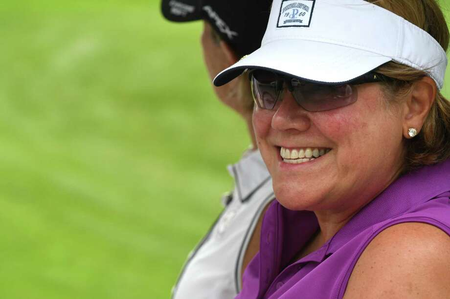 Nancy Kroll smiles at the finish of the NEWGA championship at Schuyler Meadows Country Club on Wednesday, Aug. 23, 2017, in Loudonville, N.Y. (Will Waldron/Times Union) Photo: Will Waldron / 20041353A