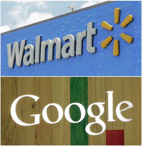 FILE- In this combo of file photos shows, a Google sign at a store on Aug. 7, 2017, in Hialeah, Fla., bottom, and a Walmart sign on June 1, 2017, in Hialeah Gardens, Fla. Walmart, the world's largest retailer, said Wednesday, Aug. 23, that it's working with Google to offer hundreds of thousands of items from laundry detergent to Legos for voice shopping through Google Assistant. The capability will be available in late September. (AP Photo/Alan Diaz, File) Photo: Alan Diaz, STF / Copyright 2017 The Associated Press. All rights reserved.