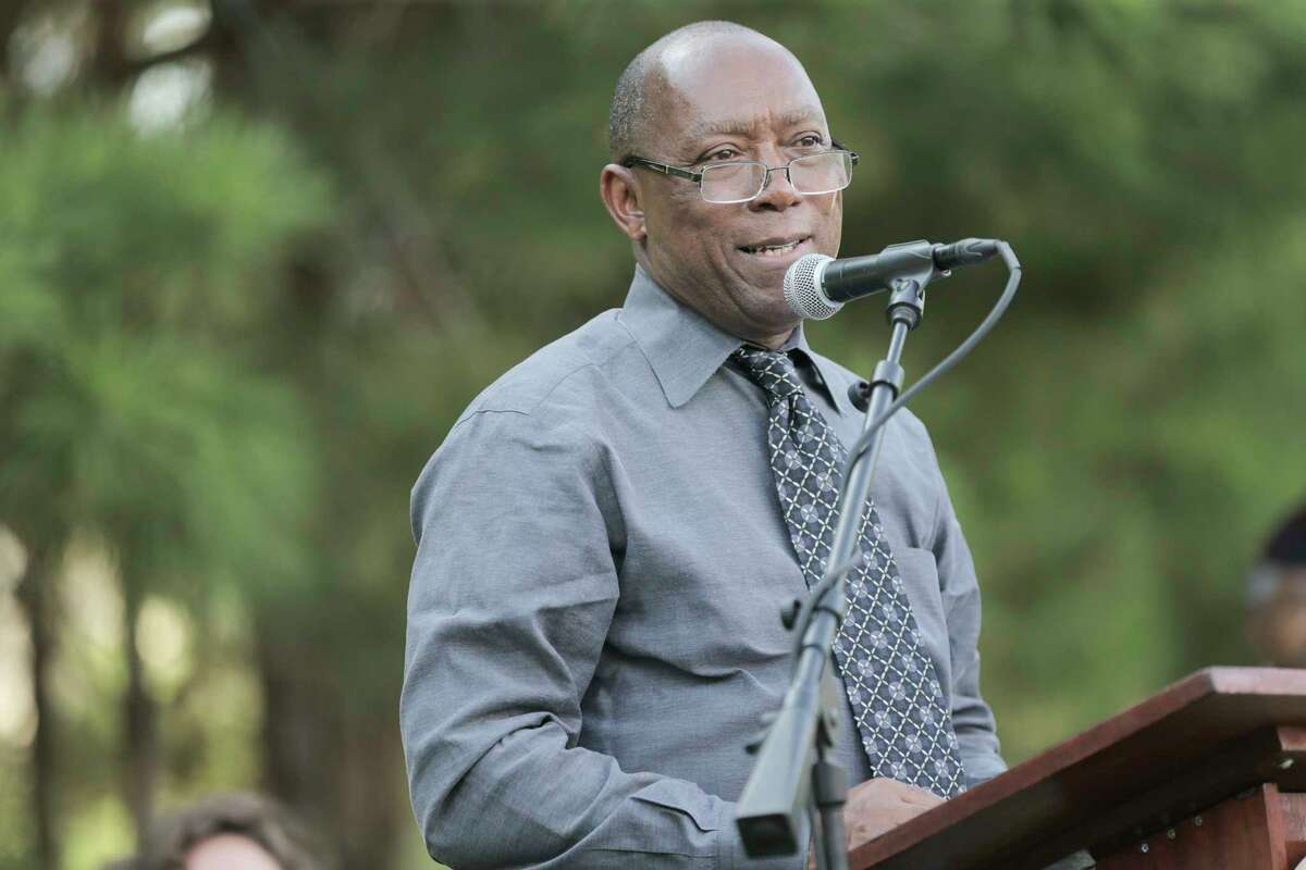 Houston Mayor Sylvester Turner addresses attendees of a rededication ceremony for the Camp Logan Historical Marker at Memorial Park on Wednesday, Aug. 23, 2017, in Houston. ( Elizabeth Conley / Houston Chronicle )