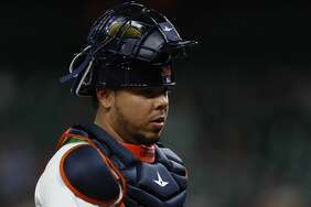 Houston Astros catcher Juan Centeno (30) during the first inning of an MLB baseball game at Minute Maid Park, Tuesday, May 23, 2017.   ( Karen Warren / Houston Chronicle )