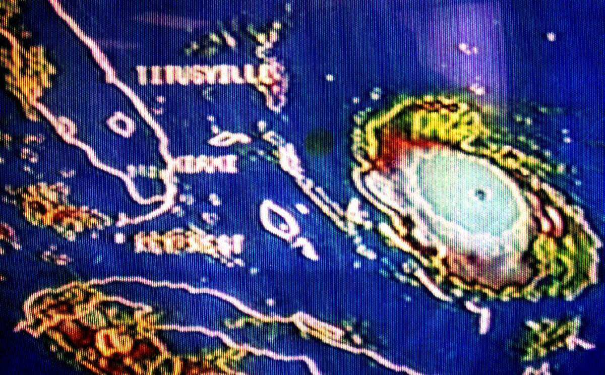 The position of Hurricane Andrew is shown August 23, 1992 just east of the Bahamas. About one million people in south Florida were ordered to evacuate because of the hurricane.