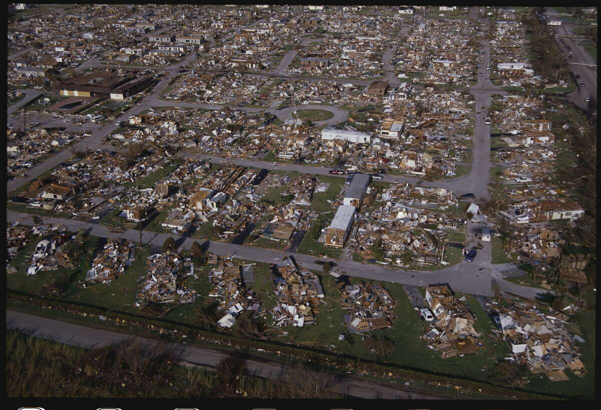 Homes were reduced to piles of rubble following Hurricane Andrew.
