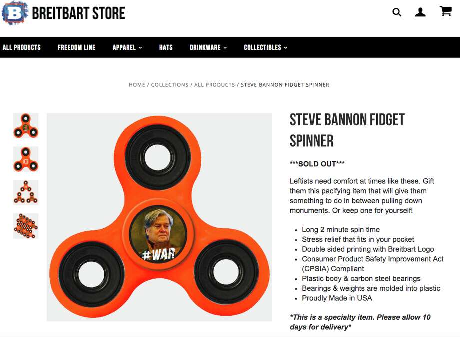 Breitbart's online store has sold out of its Steve Bannon–branded fidget spinners. Photo: Breitbart