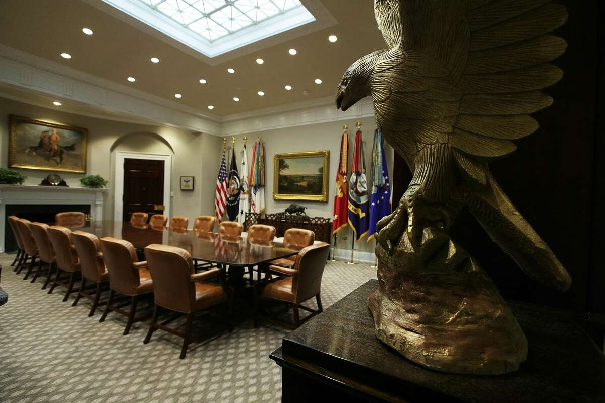 The Roosevelt Room of the White House is seen after renovations August 22, 2017 in Washington, DC. The White House has undergone a major renovation with an upgrade of the HVAC system at the West Wing, the South Portico steps, the Navy mess kitchen, and the lower lobby.