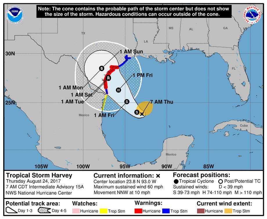 Projected Tropical Storm Harvey path as of 9:30 a.m. Thursday, Aug. 24, 2017.
