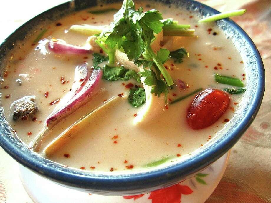 Tom kha kai soup combines coconut milk, chicken, lemon grass and galangal at Bangkok Cuisine. Photo: Mike Sutter /San Antonio Express-News