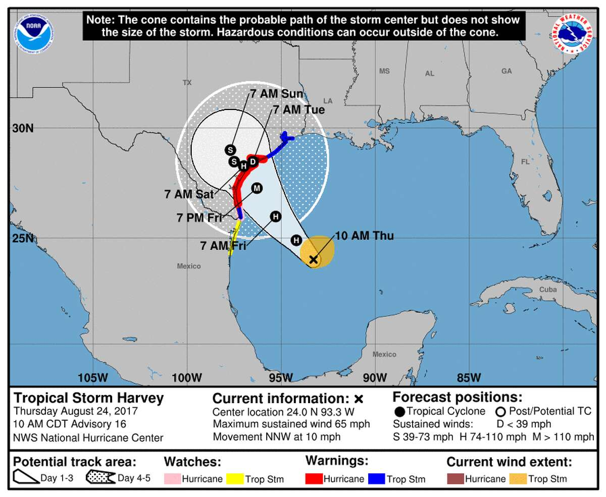 The projected path of Harvey, which could be a category 3 hurricane by the time it makes landfall near Rockport.