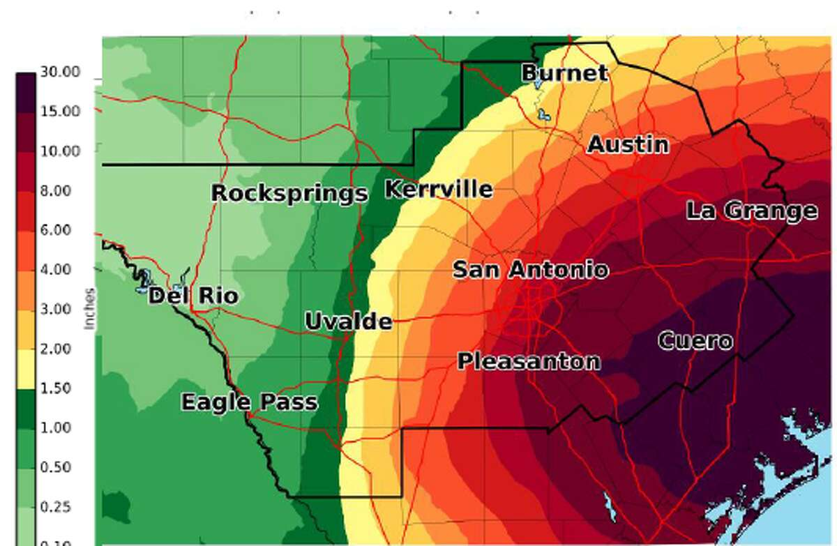 A tropical storm warning was issued for the San Antonio area as Harvey makes its way closer to Texas.