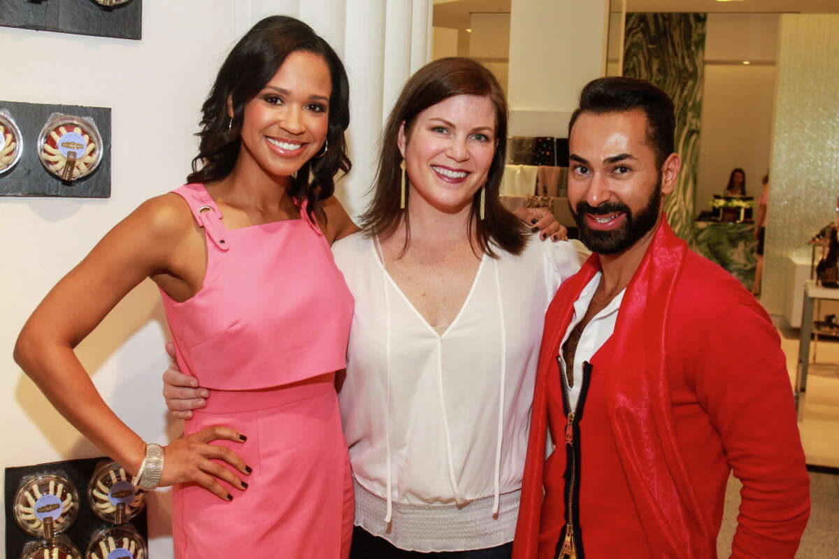 """Mia Gradney, from left, Lauren Levicki Courville and Fady Armanious at """"Sizzling Summer Soiree"""" hosted by Dress for Success Houston's Women of Wardrobe, at Tootsies. (For the Chronicle/Gary Fountain, August 23, 2017)"""