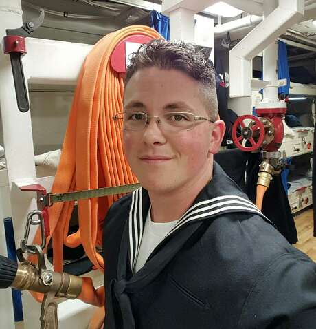This undated photo provided by Cynthia Kimball shows her son John Hoagland aboard the USS John McCain. Kimball said Wednesday, Aug. 23, 2017, the Navy told her that her son is among the missing seamen who were aboard the USS John McCain when it collided with an oil tanker near Singapore Monday, Aug. 21. (Cynthia Kimball via AP) Photo: Associated Press / Cynthia Kimball