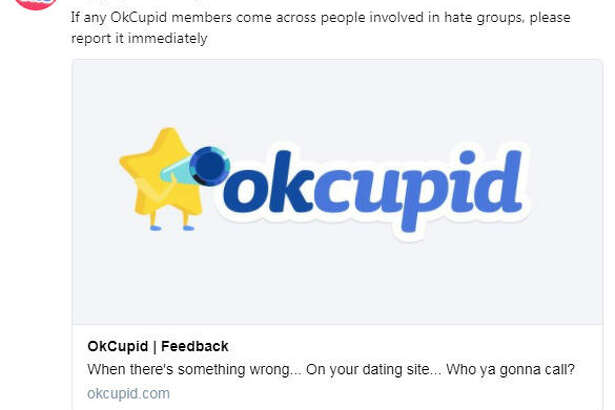 OKCupid said hate speech and symbols will be banned from its websites and platforms.  Image source:  Twitter