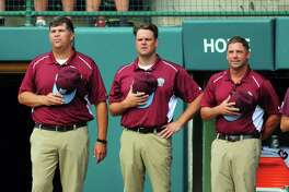 Fairfield American Coaches: Wayne Righter, left,  Jorge Rivera and Mike Randazzo, right, during Little League World Series action against Jackson, NJ at Lamade Stadium in South Williamsport, Penn., on Wednesday Aug. 23, 2017.