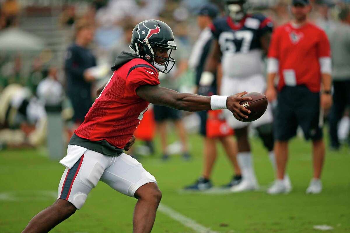 Houston Texans quarterback Deshaun Watson (4) goes through drills during a joint practice with the New Orleans Saints at the Saints NFL football training facility in Metairie, La., Thursday, Aug. 24, 2017. (AP Photo/Gerald Herbert)