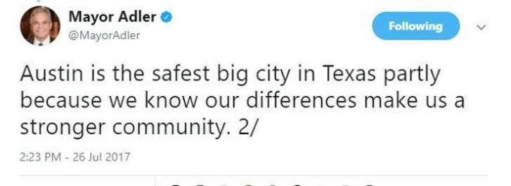 Austin Mayor Steve Adler posted this tweet about Austin's safety on July 26, 2017 (screen grab).