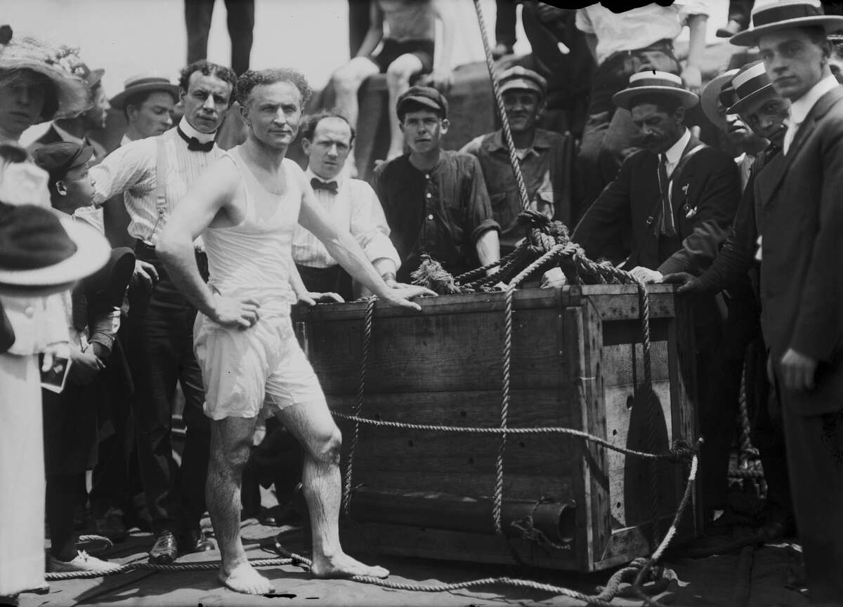 One of the greatest stunts Houdini ever pulled off in San Francisco was being submerged in SF Bay locked inside a wooden crate and reappearing on the water's surface only 30 seconds later, a stunt he also performed (above) in New York City in 1912. (Photo by FPG/Getty Images)