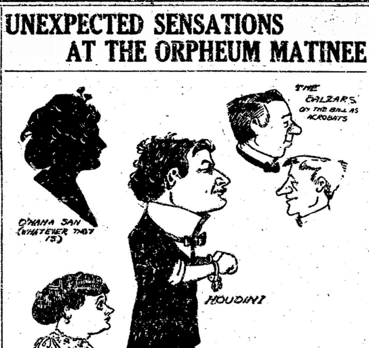 A 1907 advertisement for Harry Houdini's appearance at the Orpheum Theatre in San Francisco.