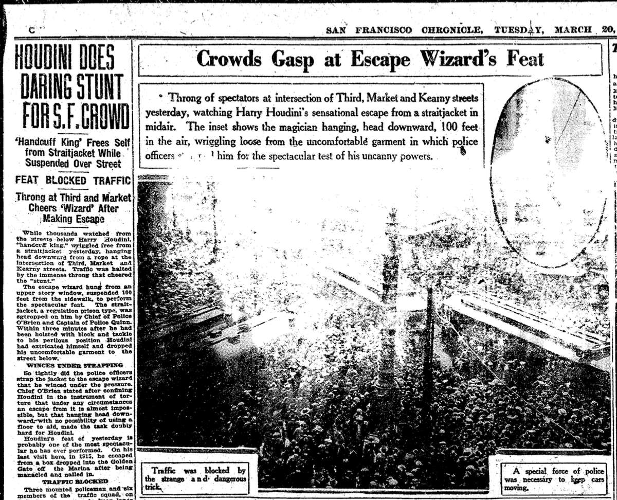 The San Francisco Chronicle on March 20, 1923, the day after Harry Houdini did a straitjacket escape from the Hearst Building on Third and Market.