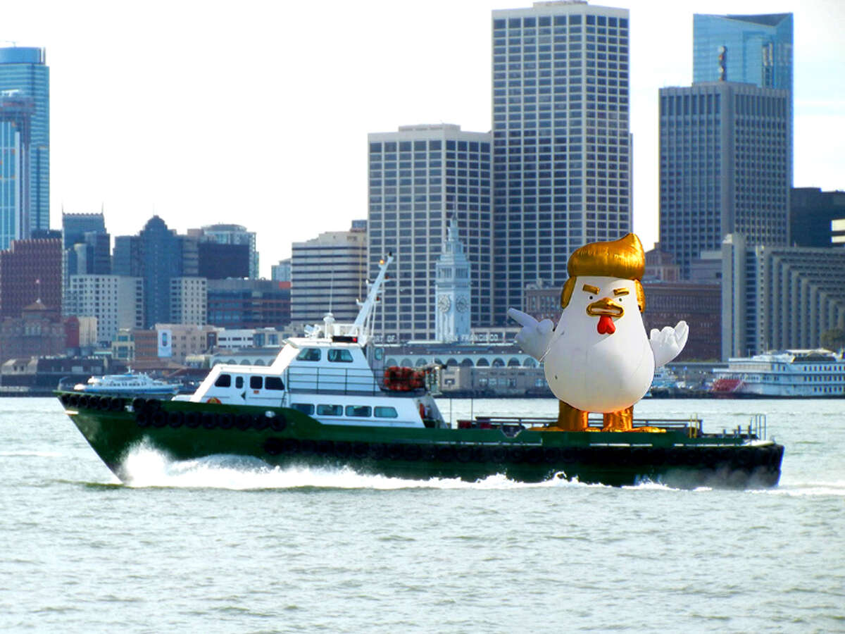 An anti-Trump group raised money through GoFundMe to pay for a giant inflatable Trump chicken to float across San Francisco Bay during the alt-right rally at Crissy Field on Aug. 26, 2017. This is altered photo was created to show what the effort might look like.
