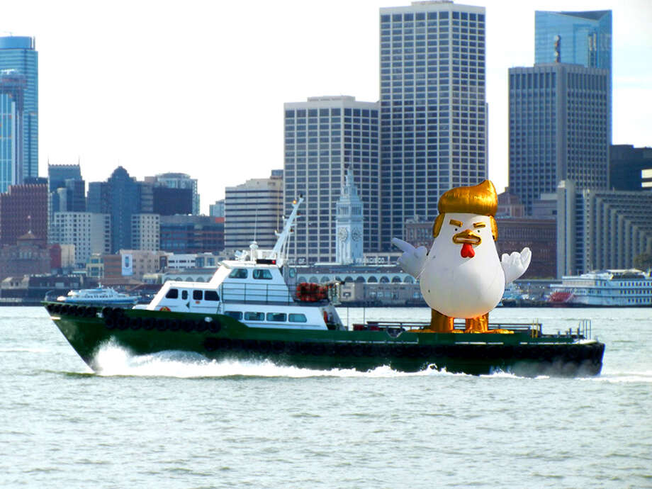 An anti-Trump group raised money through GoFundMe to pay for a giant inflatable Trump chicken to float across San Francisco Bay during the alt-right rally at Crissy Field on Aug. 26, 2017. This is altered photo was created to show what the effort might look like. Photo: Admiral Greg
