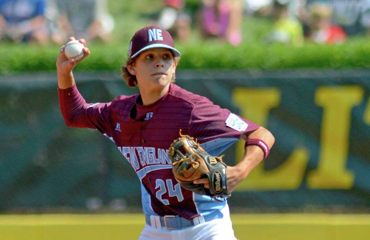 Fairfield American's Michael Iannazzo in action during the Little League Baseball World Series in South Williamsport, Penn., on Thursday Aug. 17, 2017.